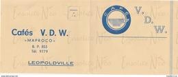 """Enveloppe 1957 Sabena Publicité Bon De Commande Cafés V.D.W. """"Maproco"""" Leopoldville Destinée Aux Coloniaux Luluabourg - Bélgica"""