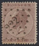 """émission 1865 - N°19 Obl Pt 222 """"Lokeren"""" - 1865-1866 Linksprofil"""