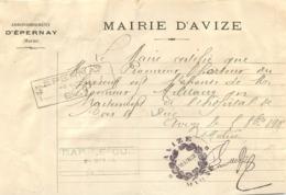 MARIE D'AVIZE 1919 AUTORISATION A FEMME DE SOLDAT BLESSE POUR SE RENDRE A  L'HOPITAL DE BAR LE DUC - 1914-18