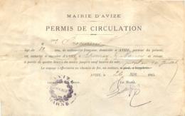 MAIRIE D'AVIZE PERMIS DE CIRCULATION D'AVIZE A EPERNAY ET NANCY  1915 - 1914-18