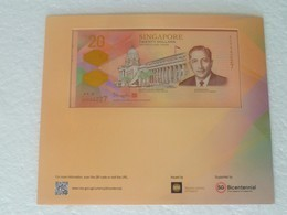 UNC Singapore 2019 Bicenteninal Commerative 20 Dollars Polymer Banknote With Folder - Singapore