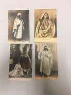 Lot De 4 CPA Anciennes Algérie, Tunisie.. Costumes Traditionels Circulées - Algérie