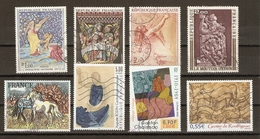 France - Tableaux - Série Artistique - Petit Lot De 8° - Auguste Rodin - Gaston Chaissac - Yves Brayer - Charles Le Brun - Vrac (max 999 Timbres)