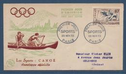 France FDC - Premier Jour - Les Sports Canoé - Paris - 1953 - 1950-1959