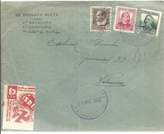 CARTA 1937  MATASELLOS ESTAFETA DE CAMPAÑA  VIÑETA - 1931-Aujourd'hui: II. République - ....Juan Carlos I
