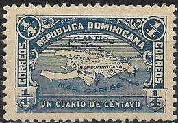 DOMINICAN REPUBLIC 1900 Island Of Hispaniola - 1/4 C - Blue MH - Repubblica Domenicana