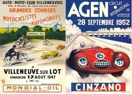 Lot De 2 CPM Publicitaires (Courses Automobiles Et Motocyclistes) : Villes D'AGEN Et VILLENEUVE Sur LOT. - Publicité