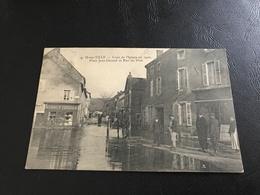 9 - IS SUR TILLE Crue De L'Ignon En 1910. Place Jean Durand Et Rue Du Pont - 1910 Timbrée - Is Sur Tille