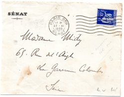 PARIS 6 Bis1939 =  FLAMME FLIER Muette '7 Lignes Ondulées' +  PAIX Perforé SENAT - Postmark Collection (Covers)