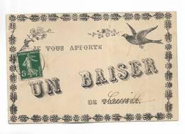 88 -  RARE - Je Vous Apporte UN BAISER De VRECOURT ( Titre Surchargé ) Carte Oblitérée De Vrécourt - Hirondelle - France
