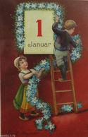 """Neujahr, Kinder, Blumengirlande, Januar"" 1910, Serie 1236 ♥   - Neujahr"