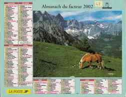°° Calendrier Almanach La Poste 2002 Oberthur - Dépt 47 - Cheval Et Chien - Calendars