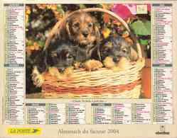 °° Calendrier Almanach La Poste 2004 Oberthur - Dépt 56 - Chiens - Calendars