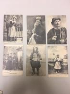 Lot De 6 CPA Anciennes Costumes Traditionnel Bretons Dont 2 écrit Au Dos En Morse ( Communication Militaire ??? 1915 ??? - Europe