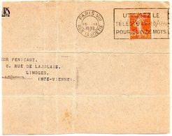 PARIS VIII - RUE LA BOETIE 1938 = FLAMME FLIER ' UTILISEZ TELEGRAMME / POUR QUINZE MOTS' + Perforé à Voir - Marcophilie (Lettres)