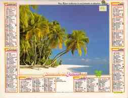°° Calendrier Almanach La Poste 1991 Oller - Dépt 64 - Rivage Exotique Et Vahiné - Calendriers