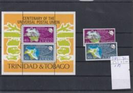 Trinidad & Tobago Michel Cat.No.   Mnh/** 328/329 + Sheet 12 Upu - Trinidad & Tobago (1962-...)