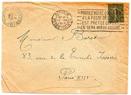 PARIS 8 - Bd Des ITALIENS 1917 = FLAMME FLIER ' PORTEZ VOTRE COURRIER  À LA POSTE DÈS' + Perforé MAURY - Marcophilie (Lettres)