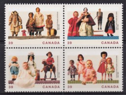 Canada 1990 Dolls Set As Block Of 4 MNH - 1952-.... Reign Of Elizabeth II