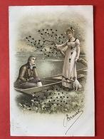 1902 - CARTE PAILLETTES - KAART MET GLITTERS - COUPLE - BATEAU - KOPPEL - BOOT - Couples