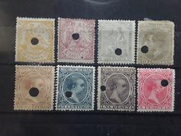 ESPAGNE / ESPANA / SPAIN / SPANIEN TELEGRAFOS ,1873 - 1889 Lot De 8 Timbres Perfores Dont No 149, 192, TB Cote 75 Euros - Télégraphe
