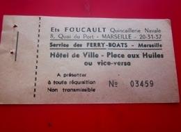 1950 FERRY-BOAT FERRIBOITE-HOTEL DE VILLE PLACE AUX HUILES-VICE VERSA BILLET TICKET EMBARQUEMENT TITRE DE TRANSPORT +PUB - Europa