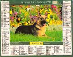 °° Calendrier Almanach La Poste 1998 Oller - Dépt 82 - Chien Et Chevaux - Calendriers