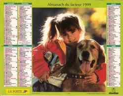 °° Calendrier Almanach La Poste 1999 Oberthur - Dépt 82 - Enfants Avec Animaux - Grand Format : 1991-00
