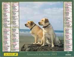 °° Calendrier Almanach La Poste 2003 Oberthur - Dépt 95 - Chiens - Calendars
