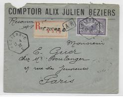 "1922 - HERAULT - ENVELOPPE RECOMMANDEE AR De BEZIERS ""C"" Avec CACHET HEXAGONAL Sur MERSON => PARIS - 1921-1960: Periodo Moderno"