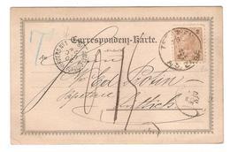PR6597/ Oestereich CP-CK Teschen 1890 Griffe T V.Lüttich C.d'arrivée + C.Ambt Ostende-Verviers N°1 Taxée 0,15 C - Postmark Collection
