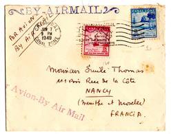 Lettre Par Avion Air Mail De Canal Zone  (7.06.1949) Pour Nancy - Panama