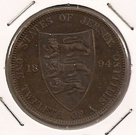 Jersey - 18943 1/12th Shilling RARE MINTAGE 180 000  187 - Jersey
