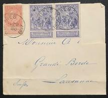 N. 71 + 57, 5 Cent En Paire + 10 Cent Rouge-brun Enveloppe De Tongres 6/9/1897 Pour Suisse, Manque 1 Timbre - 1894-1896 Ausstellungen