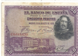 BANCO DE ESPANA . 50 PESETAS . 15-8-1925 - N° C0.641.635 .. 2 SCANES - [ 1] …-1931 : Eerste Biljeten (Banco De España)