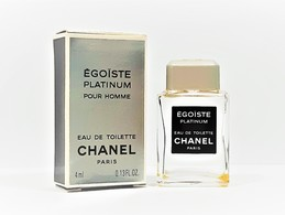 Miniatures De Parfum EGOISTE PLATINUM Pour HOMME De  CHANEL   EDT   4 Ml  VIDE + BOITE - Modern Miniatures (from 1961)