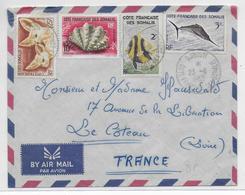 1963 - COTE DES SOMALIS - ENVELOPPE Par AVION De DJIBOUTI => LE COTEAU - Côte Française Des Somalis (1894-1967)