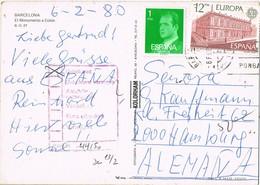 33264. Postal BARCELONA 1980. Retour, Devuelto Desconocido, Inconnu. Monumento COLON - 1931-Hoy: 2ª República - ... Juan Carlos I