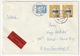 DDR 1985 Michel Nr. 2930 Waagerechtes Paar Und 2506 Auf Eilzustellung Exprès Brief Von Magdeburg Nach Düsseldorf 2 Scans - DDR