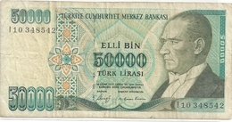 TURKIYE CUMHURIYET MERKEZ BANKASI . 50.000 LIRA . 1970 . N° L10 348542  . 2 SCANES - Turquie