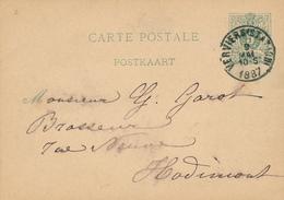 240/29 -- BRASSERIE Belgique - Commande De Bière Sur Entier Postal VERVIERS 1887 Vers Brasseur Garot à HODIMONT - Bières