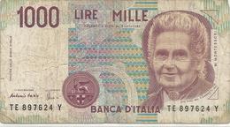 """BANCA D'ITALIA . 1.000 LIRE . DECRETO MINISTERIALE 3 OTTOBRE 1990. """" M.MONTESSORI """" N° TE 897624 Y   . 2 SCANES - [ 2] 1946-… : République"""