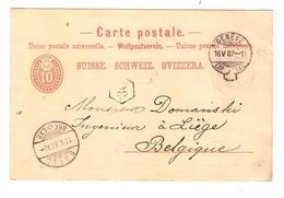 PR6601/ Suisse Entier CP Avec Repiquage Suchard Chocolat C.Genève 1887 Via Basel V.Belgique Liège C.facteur - Entiers Postaux