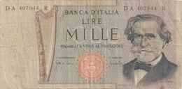 """BANCA D'ITALIA . 1.000 LIRE . SIGN. CARLI & LOMBARDO . """" VERDI """" N° DA 407944 R   . 2 SCANES - 1000 Lire"""