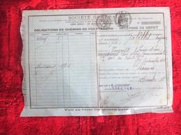 1918 OBLIGATION DE CHEMIN DE FER FRANÇAIS RÉCÉPISSÉ DE DÉPÔT SOCIÉTÉ GÉNÉRALE CHINON - FISCAUX à SEC Action Titre Autre - Chemin De Fer & Tramway
