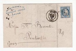 Pli De Juin 1870    Cachet De REIMS    Timbre N°37  Yvert Et Tellier    Manufacture Dauphinot à Reims - 1870 Siege Of Paris