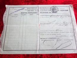 1913 RENTE FRANÇAISE 3%-5fr Avril 1913 RÉCÉPISSÉ DE DÉPÔT SOCIÉTÉ GÉNÉRALE CHINON / POUZOUL-Fiscal à Sec Action Titre - Aandelen