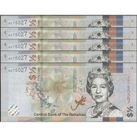 TWN - BAHAMAS NEW - ½ Dollar A.2000 (2019) DEALERS LOT X 5 - Prefix A UNC - Bahamas