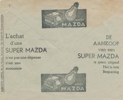 243/29 -- LAMPES Belgique - Enveloppe Publicitaire Des CCP Circulée 1936 - Lampe Super MAZDA + Chauffages SURDIAC - Timbres