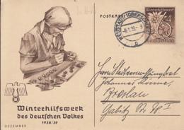 WW2 WINTER RELIEF FUND, WOMAN WORKING, PC STATIONERY, ENTIER POSTAL, 1939, GERMANY - Briefe U. Dokumente